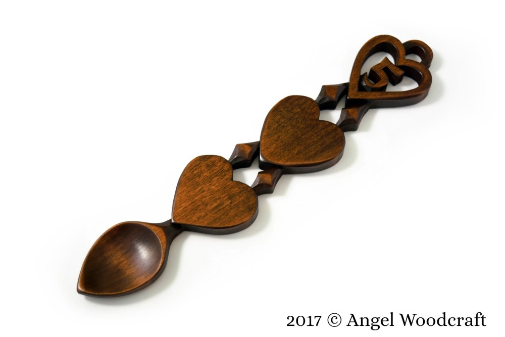 Wood 5th Anniversary Welsh Lovespoon by Angel Woodcraft