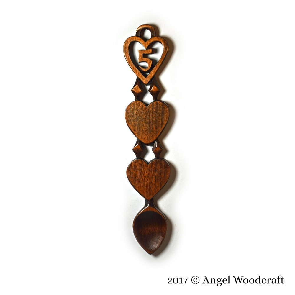 Wood 5th Anniversary Welsh Love Spoon - 128 1