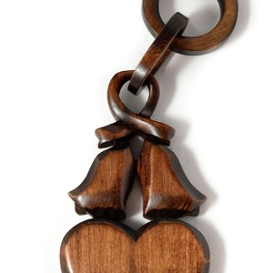 Welsh Love Spoon featuring wedding bells and chain links by Angel Woodcraft