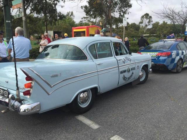 Vintage SA Police car leading the parade