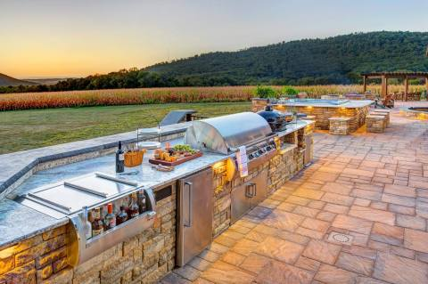 built in grill kitchen outdoor photo