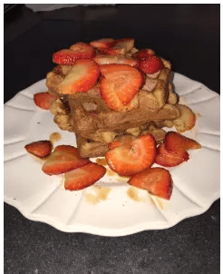 whole waffle in dish with strawberries