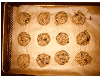 banana chocolate chip cookies out of oven