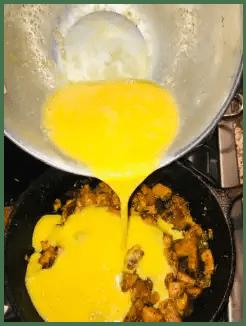 pour egg in fritata