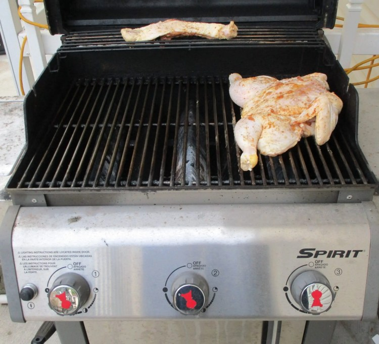 showing indirect heat for spatchcock chicken