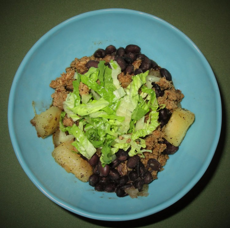 Black beans with taco meat