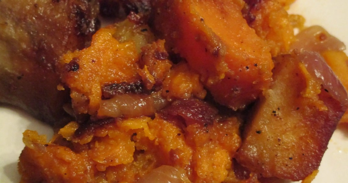 close up batata and sweet potato in my dish