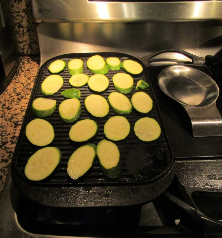 cooking zucchini on indoor grill pan