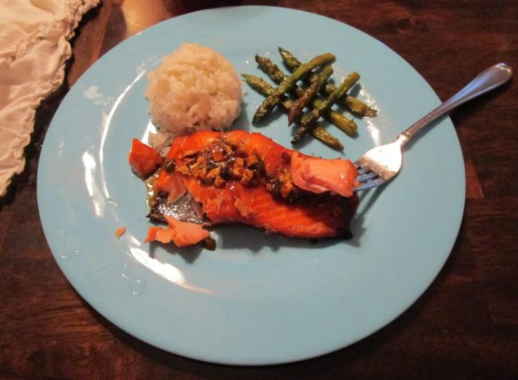 flakey ginger salmon on fork