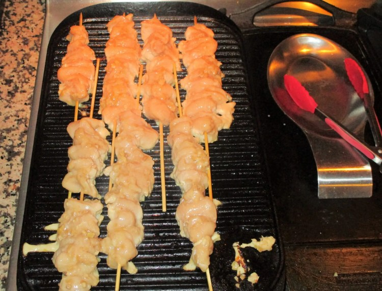 grilling chicken skewers