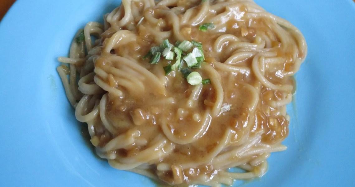 peaNOT sauce on noodles