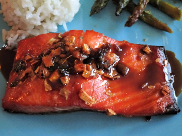 real close up ginger salmon