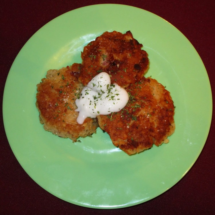 yucca patties on plate to serve