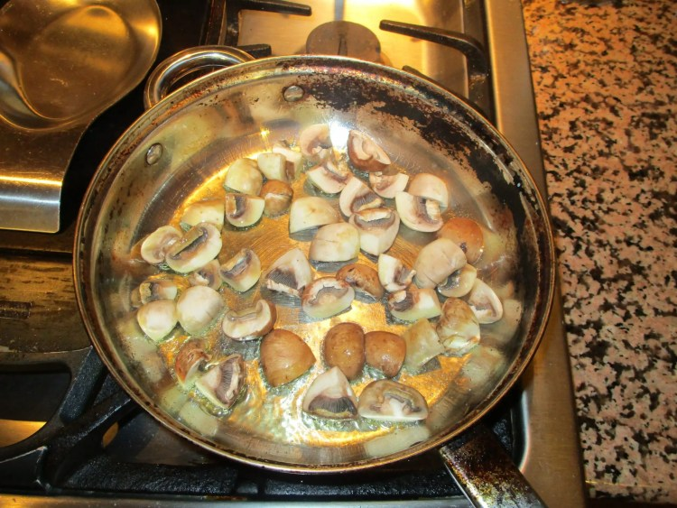 mushrooms in screaming hot pan for worchester side