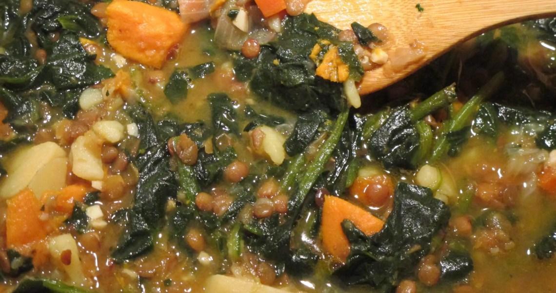 pot of lentil stew