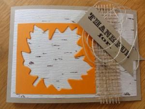 Jutteband und Birkenrindenpapier mit Madarinorange