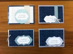 Weihnachtskarten in Mitternachtsblau mit Designpapier Eiszauber und Silberglanzpapier