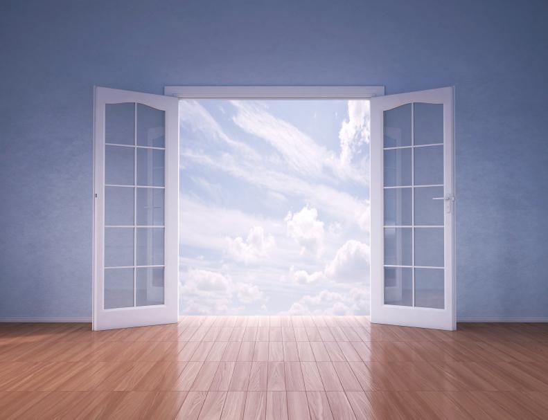 Doors opening to blue skies