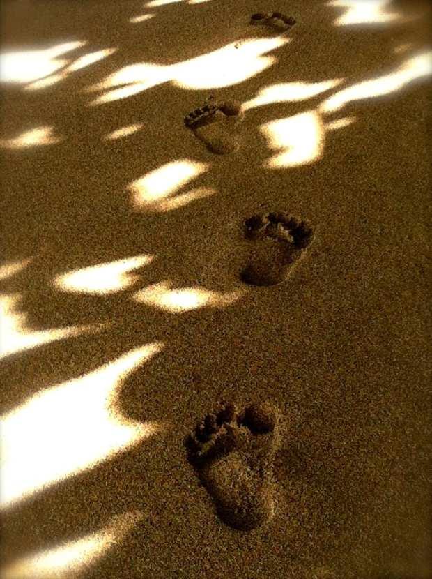 Footprints in the sand Kauai