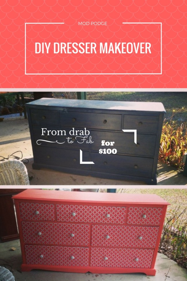 HOW TO: DIY Mod Podge desk makeover on a budget. Check out this step by step guide on how to turn an old dresser into a super cute, Instagrammable new piece in your home. #DIY #Ideas #ModPodge #Budget #Tips