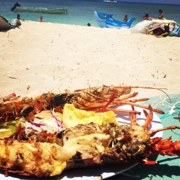 Fresh lobster on the beach