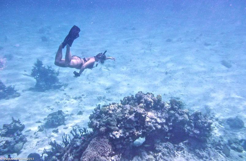 Freediving outside Thunderball Grotto on a Bahamas vacation