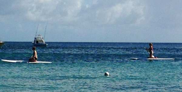 Stand-up paddle boarding at Reggae Beach