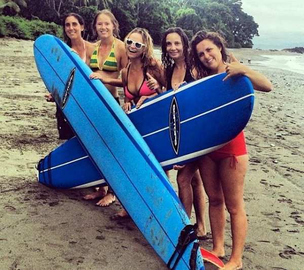 Surfing in the Osa Peninsula, Costa Rica.
