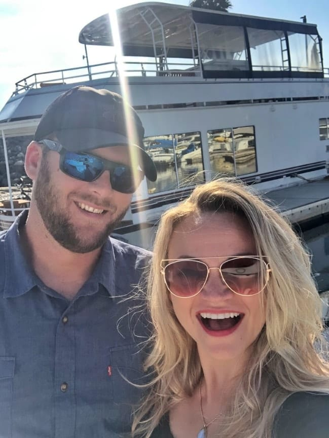 Angie and Rick enjoying our Airbnb houseboat in San Diego
