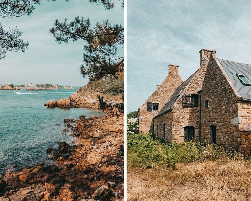 Les criques et les petits maisons de l'île de Brehat