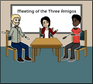 illustration of three team members in a conference room sitting around a table