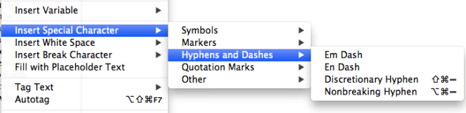 Screen snap of the Hyphens and Dashes window in InDesign.