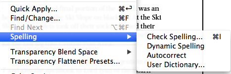 Screen snap of the route to the User Dictionary located under the Spelling tab in InDesign.