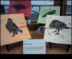 The Trickster by An Gates; flexigon structure, block printed ravens