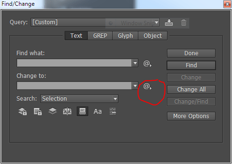 Find/Change window in InDesign