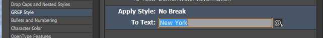 GREP No Break style applied to a nonGREP expression: New York