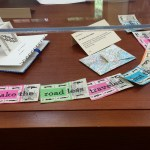 The Roads Most Taken: stitched together bus tickets and map