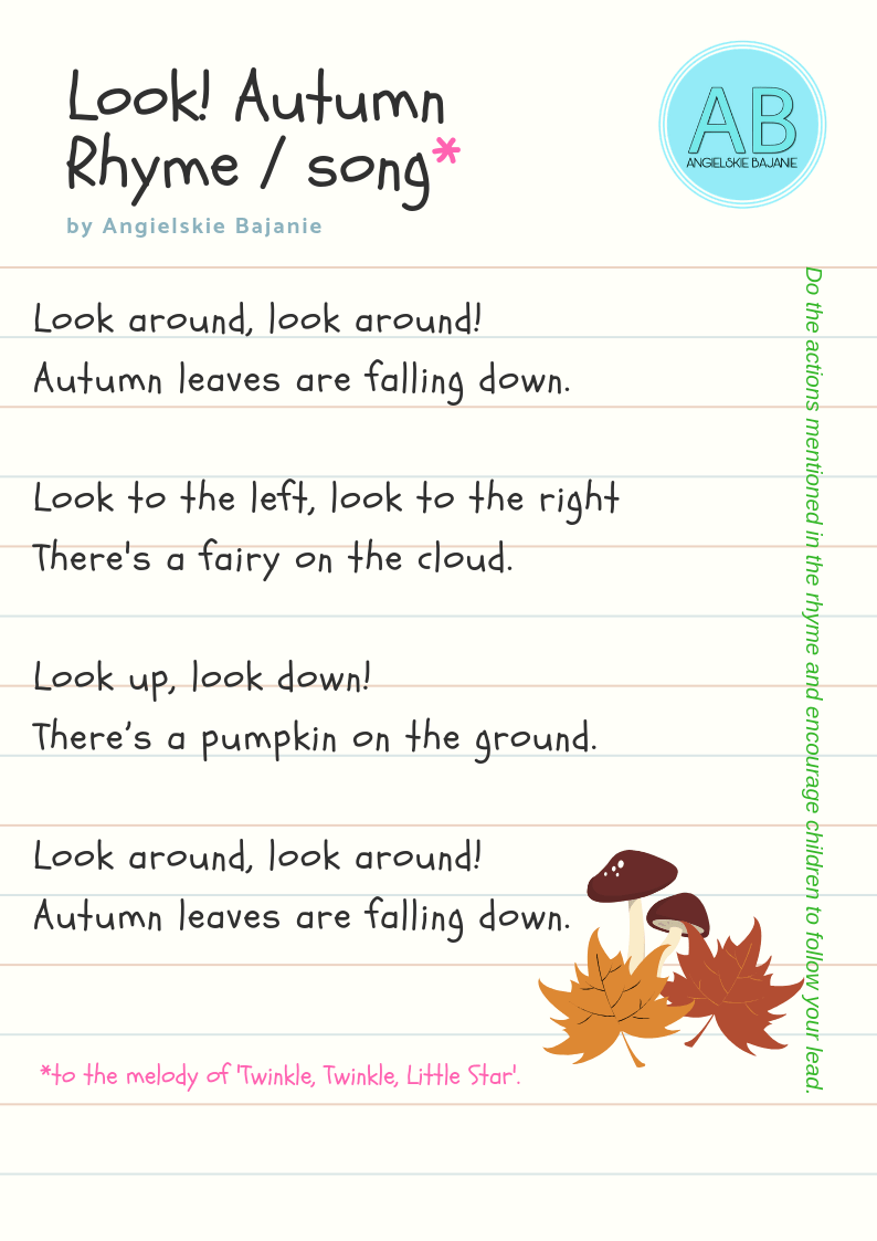 Autumn 1 A Poster A Rhyme A Song And Flashcards