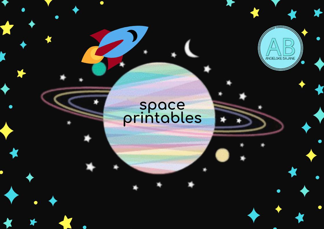 Karty obrazkowe Kosmos, Księżyc, Gwiazdy, Astronauta, kosmita, planety
