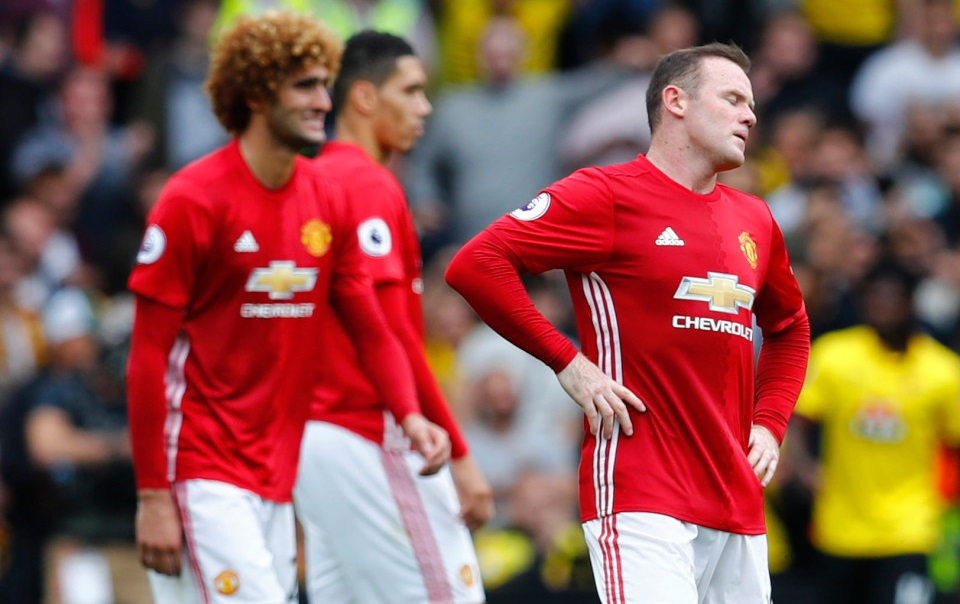 """Britain Football Soccer - Watford v Manchester United - Premier League - Vicarage Road - 18/9/16 Manchester United's Wayne Rooney looks dejected after Watford's Troy Deeney scores their third goal Reuters / Eddie Keogh Livepic EDITORIAL USE ONLY. No use with unauthorized audio, video, data, fixture lists, club/league logos or """"live"""" services. Online in-match use limited to 45 images, no video emulation. No use in betting, games or single club/league/player publications. Please contact your account representative for further details."""