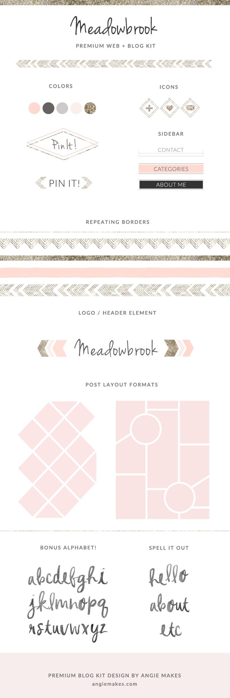 Modern Premade Blog Kit By Angie Makes. Spruce up Your Blog In No Time With This Blog Design Graphic Set!