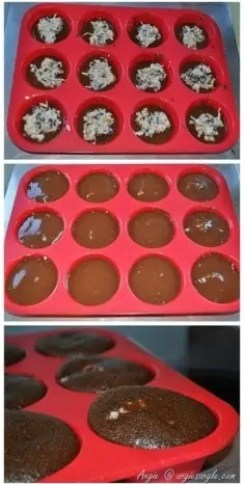 Heavenly Surprise Mini Cupcakes in Silicone Muffin Pan