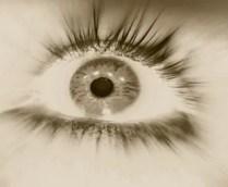 An eye looking up wide open.