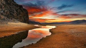 Mongolia-Steppe-blue-brown-clouds-deserts-gobi-landscapes-mountains-nature-red-reflections-rivers-skies-skyscapes-sunset-water-yellow