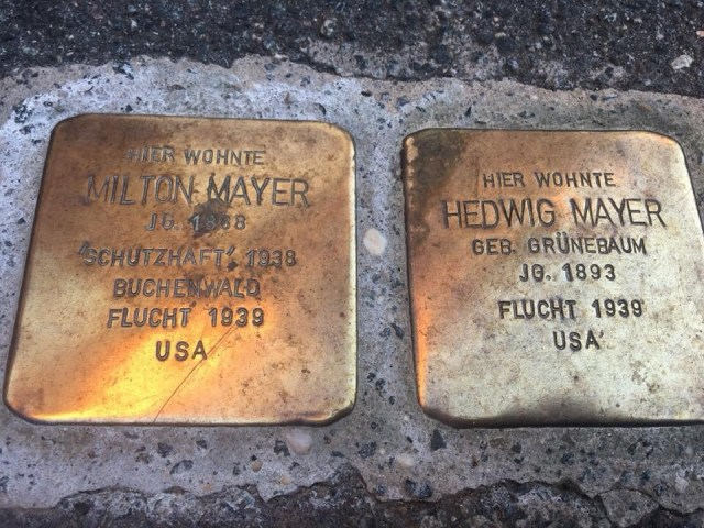Stolpersteine, Stepping stones presentation, a Jewish and Holocaust remembrance