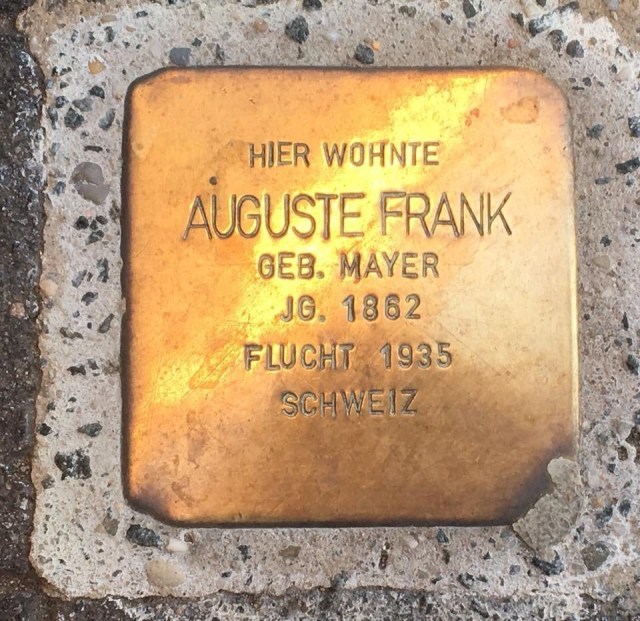 Auguste Frank Stolperstein, tripping stones, a Jewish and Holocaust remembrance