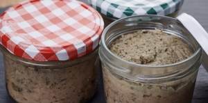 Homemade Liverwurst in a glass jar, Hausmacher Leberwurst