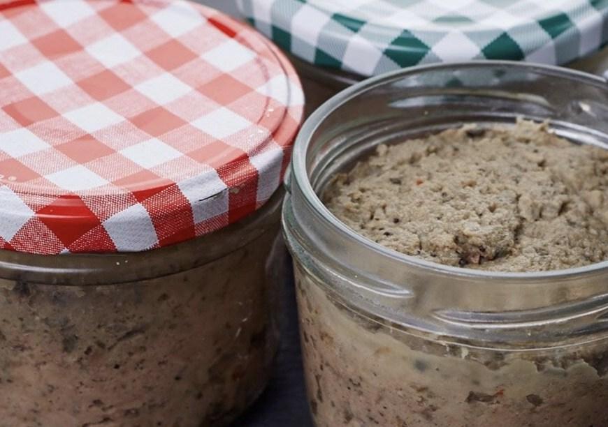 Homemade Liverwurst in a glass jar, Hausmacher Leberwurst