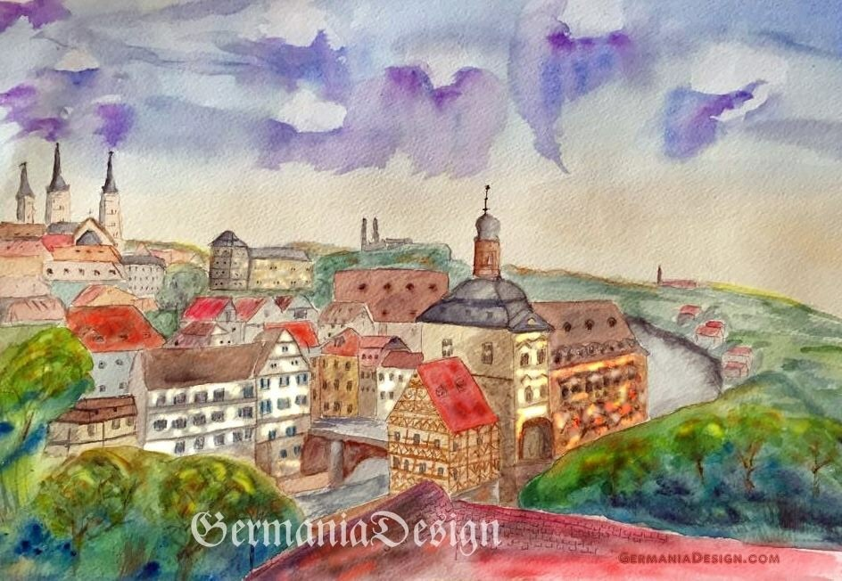 Bamberg painting, Angie's Watercolor GermaniaDesign