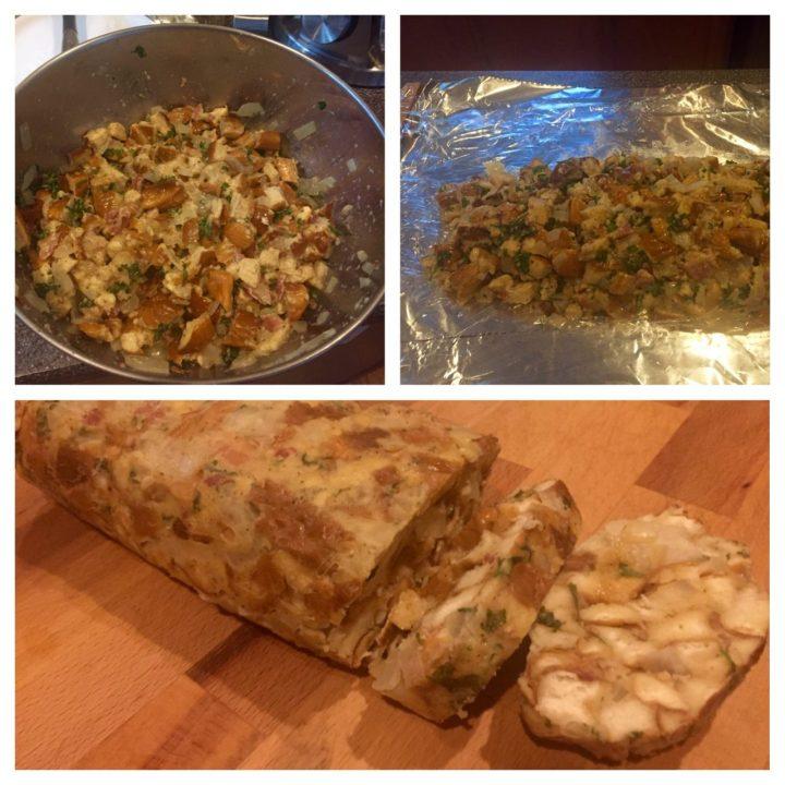 Serviettenknödel preparation,German Bread dumplings